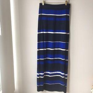 Club Monaco Alma Long Knit Stripe Skirt with Slit